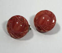 Vintage Clip On Earrings Red Glass Shiny Sparkly Pretty Kitsch Costume Jewellery
