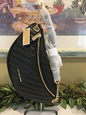 MICHAEL KORS PEYTON LARGE QUILTED BELT BAG FANNY WAIST PACK CROSSBODY BLACK GOLD
