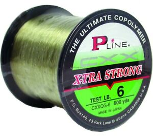 P-Line CXXQG-8 CXX X-Tra Strong Mono 8lb 600yd Spool Moss Green 1/4 Size
