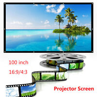 "120"" 16:9 Portable Projector Screen Projection HD Home Theater Movie Foldable"
