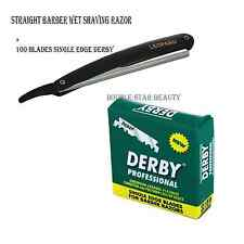 Straight Edge Barber Razor with 100 Derby blades