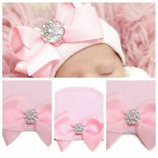 0 3 Months Newborn Pink Baby Infant Girl Bowknot Diomand Hospital Cap Beanie Hat