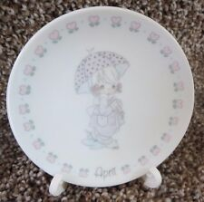 Precious Moments - April Mini Plate and Holder 1989