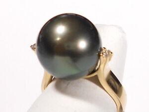 13mm Tahitian black pearl ring, diamonds, solid 18k yellow gold.