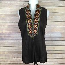 Chicos Vest 1 Womens Medium 8 Floral Embroidered 100% Linen Hook & Eye Brown
