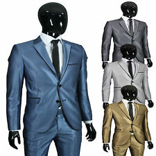 Herrenanzug in Slim Fit oder Regular Fit in Blau-Silber-Grau-Gold-Hellblau Trend