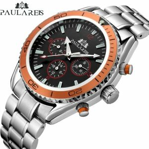 PAULAREIS Men's Self Wind Automatic Mechanical Stainless Steel Leather Watch NEW