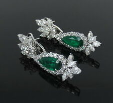8.13ct GRS Vivid Green Colombian Emerald & 11.19ct Diamond Platinum Earrings