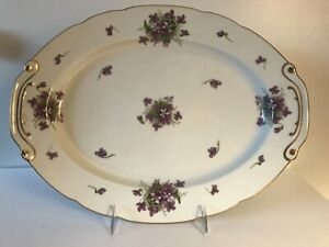 """Rossetti Spring Violets Occupied Japan 16"""" Platter Hand Painted"""