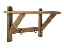 Natural Wood Wall Shelf with Metal Hooks Shabby Chic Home Wall Decor