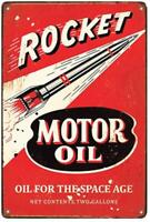 "Rocket Motor Oil, Oil and Gas Metal Sign for Rustic Garage Decor 12"" x 8"""
