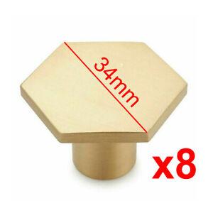 8x Kitchen Cabinet Drawer Knob Handle Hexagon Brass Cupboard Wardrobe Door Pull