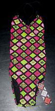 105B NWT S Pink Green Yellow ED HARDY Diamond One-piece Swimsuit!