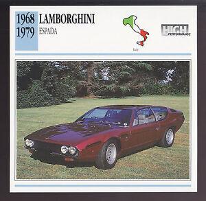 1968-1979 Lamborghini Espada Italy Sports Car Photo Spec Sheet Info ATLAS CARD
