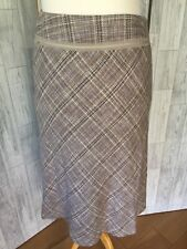 Monsoon 100% Silk Pale Grey Check Fit & Flare Skirt Sz12/40