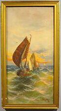 19th century antique Dutch seascape oil painting