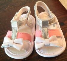 Newborn Fancy Pink White & Silver With a Bow on Front with Velcro Closures-New