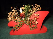 Wooden Noel Red Santa Sleigh Home Display With Candle, Present, Bow And Flowers