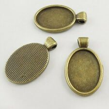 30pcs Antiqued Bronze Alloy Oval Shaped Cameo Setting Pendant Jewelry Findings