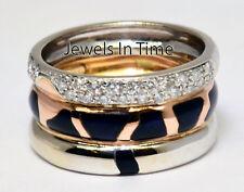 Nouvelle Bague Ladies 18k White & Rose Diamond & Enamel Ring 5.5