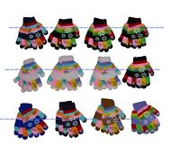 Boys Girls Children Snowflakes Stretchy Magic Gloves Fits Most Kids 12 Pairs NY