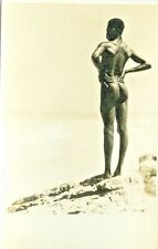 """ Nudity "" RPPC  Black Man Facing the Sea"