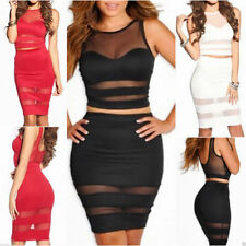 Knee Length Mesh Stretch, Bodycon Clubwear Dresses for Women