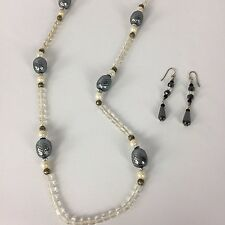 Vtg Rare Rounded Rectangular Clear Glass Beads Necklace & Hematite Earring Set