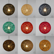 MiniSun Round Wicker Ceiling Pendant Light Shade Easy Fit Lampshade Lighting