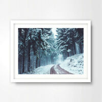 WINTER SCENE LANDSCAPE ART PRINT Snow Covered Trees Decor Nature Wall Picture