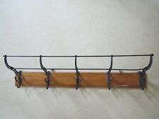 Antique Railroad Wall Mount Coat & Hat Rack 5 Cast Iron Double Hooks