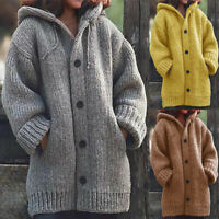 Womens Winter Open Front Sweater Cable Knit Chunky Warm Hoodie Cardigan Coat Hot