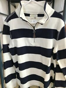 NWOT New Crewcuts Boys 8 Zip Pullover Shirt White Navy Blue Stripe