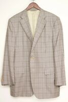 Canali 1934 Mens Sport Coat 44R Beige Brown Plaid Silk Wool Blend Jacket Italy