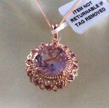 """6.5 Ct, Rose De France Amethyst Pendant,18"""" Rose Gold Over Sterling Silver"""
