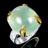 19x16 mm. Big Natural Prehnite 925 Sterling Silver Ring Size 9/R119409
