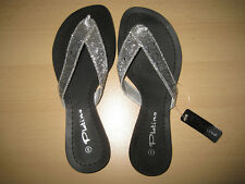 Silver Glitter Thong Flat Sandal By Platino Size 3