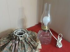 Antique Victorian Electric Lamp Glass Converted Oil Lamp / Wire & Cloth Shade