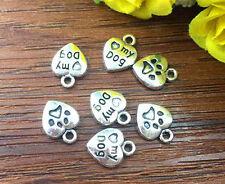 15pcs LOVE MY DOG Tibetan Silver Bead charms Pendants DIY jewelry 12x10mm