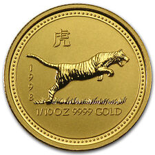 1998 Australia 1/10 oz Gold Lunar Tiger BU (Series I) - SKU #9001