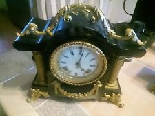 New ListingAntique Ansonia Ornate Metal and Marble Mantle Clock pre 1930