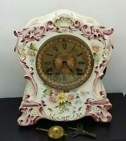"Ansonia Porcelain Mantel Clock ""Tuckahoe"" ca 1904...Runs as intended"