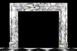 English Bolection Fireplace Surround In High Quality Italian Arabescato Marble