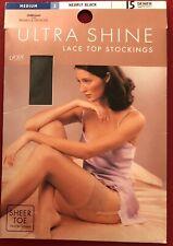 St Michael Ultra Shine Lace Top Nylon Stockings Medium Nearly Black