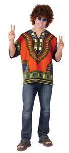 70's Hippie Shirt African Print Peace Dashiki Boho Costume Shirt 1970 New Orange