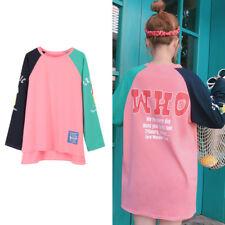 Korean Style Color Blocking Patchwork T-shirt Autumn Ulzzang Letter Print Tops