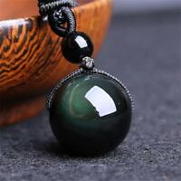 Men Lucky Black Round Ball Obsidian Pendant Necklace Amulet
