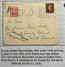 1938 Barnstaple To Lundy Channel Island England Airmail Mixed Franking Cover