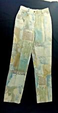 St. John Sport Marie Gray Multicolor Pastel Abstract Floral Jeans Womens Size 2