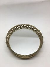 Antique Vintage Gold Mirrored Vanity Tray Makeup Nail Polish Display Brush Comb